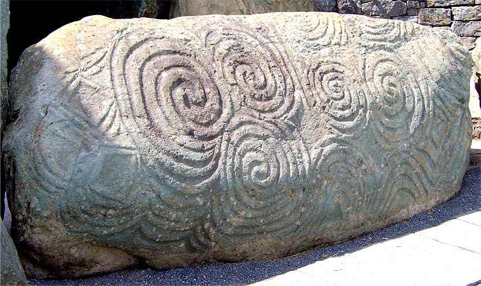 Spiral Patterns, carved into a large stone, 5000 years ago. Newgrange, Northern Ireland.